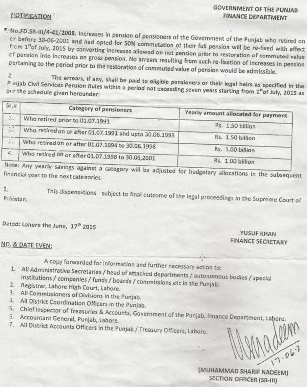 RESTORATION OF PENSION FROM 01-07-2015 WHO RETIRED on or before 30-06-2001 GOVERNMENT OF THE PUNJAB FINANCE DEPARTMENT NOTIFICATION NO. FD.SR-III/4-41/2008 DATED: 17-06-2015
