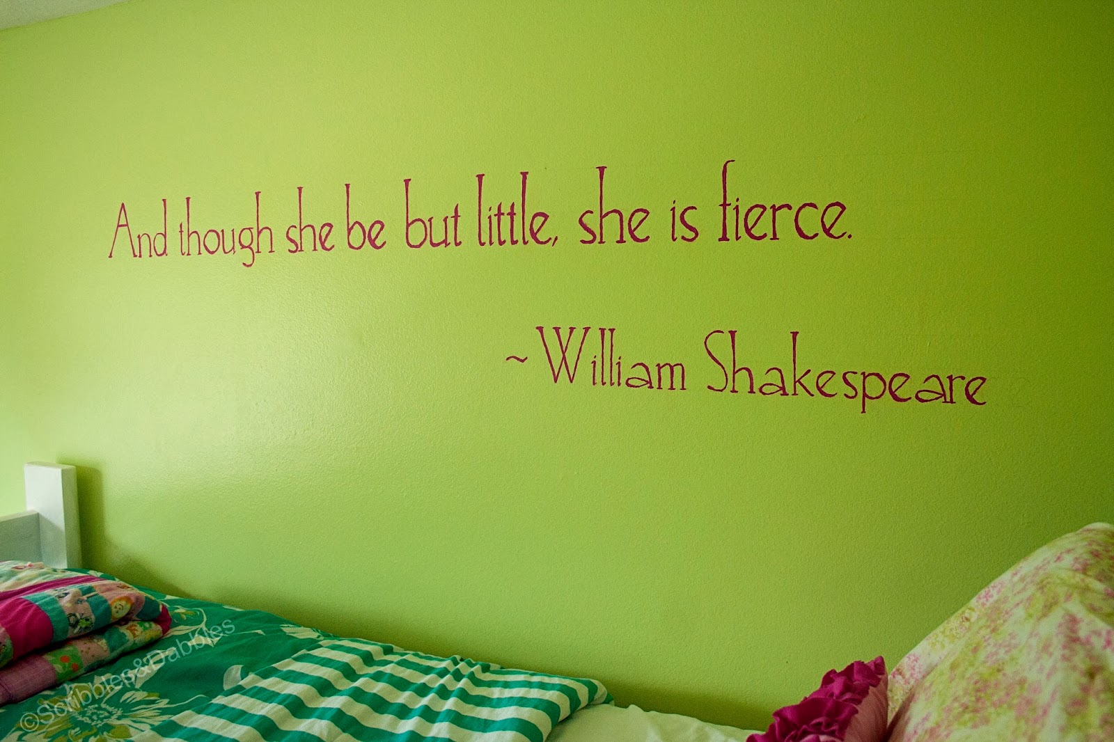 Scribbles&Dabbles: Bright Girls' Room Makeover -- Shakespeare Quote