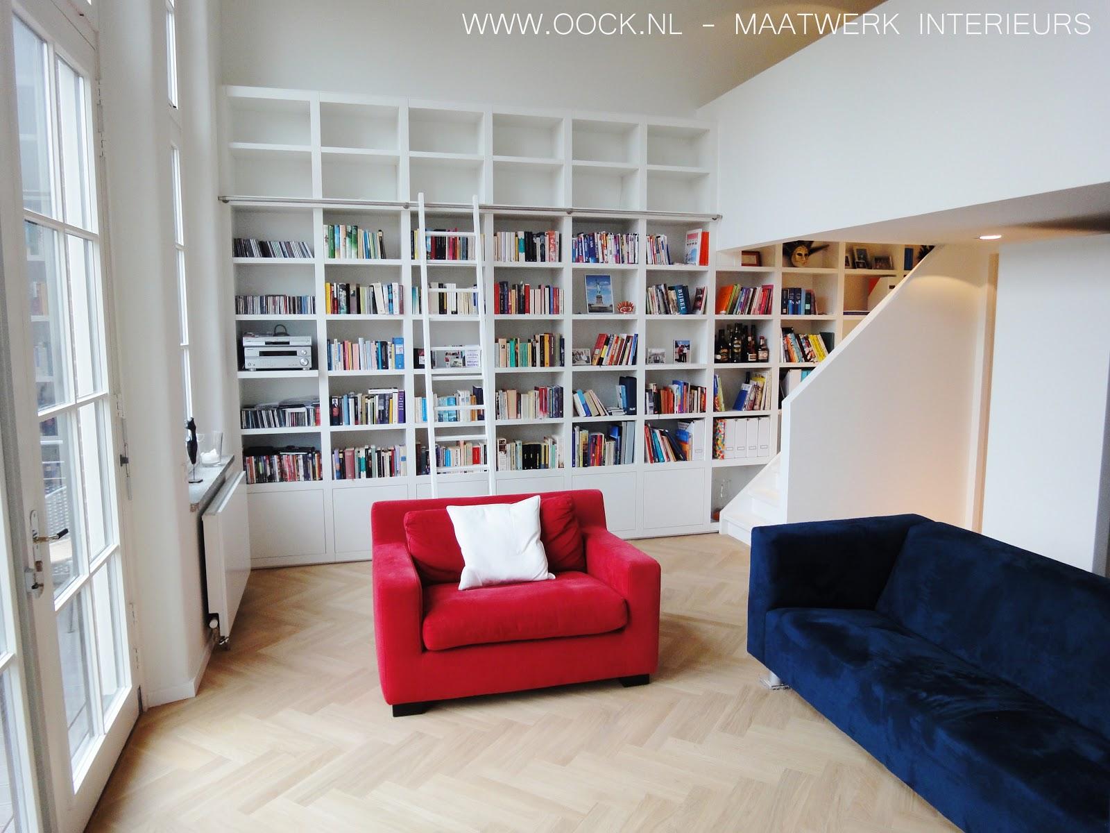 Interieurbouw: Moderne houten boekenkasten