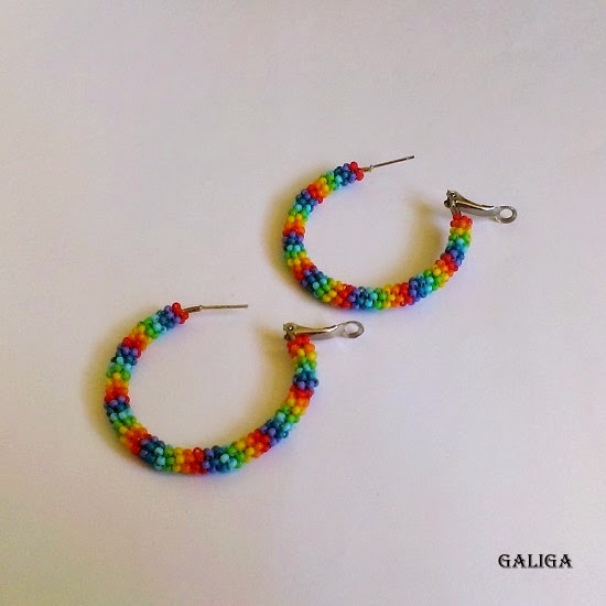 rainbow ring earrings with beads
