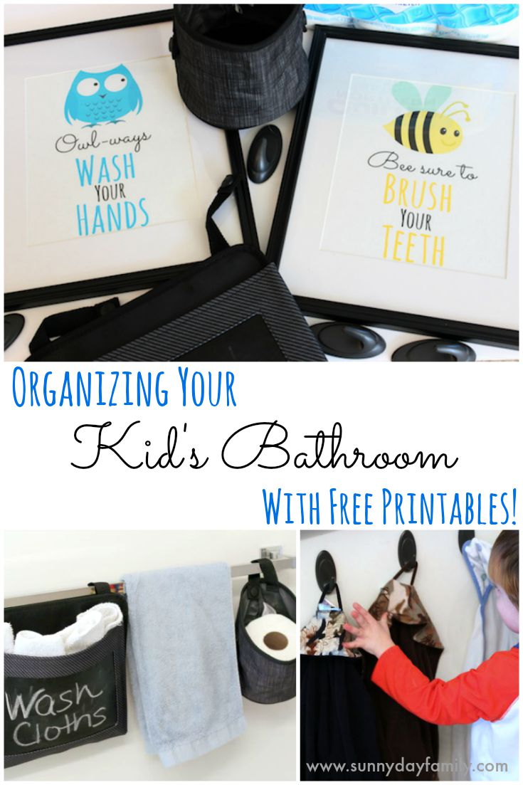 free printable bathroom art for kids and organizing tips too