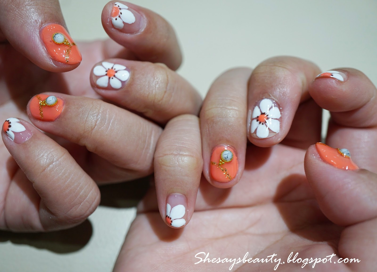 She Says B.E.A.U.T.Y: January with Daisy Coral Gel Nails by Coco ...