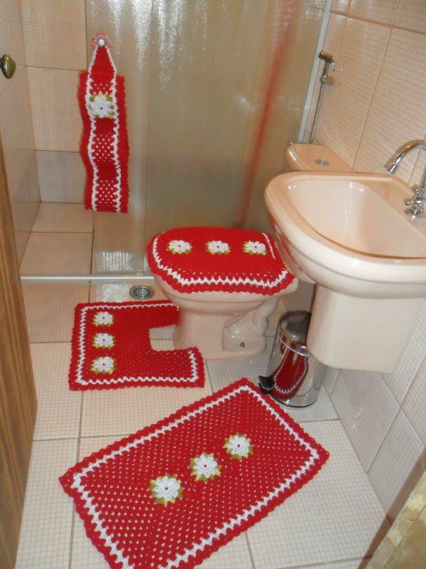 Jogos De Banheiro Vermelho E Branco : Dida croch?s jogo de banheiro