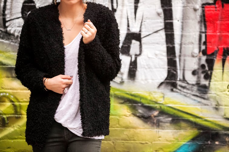 H&M furry cardigan Chic Peek ring Saint Laurent arty ring