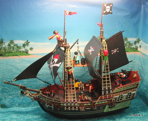 Black Red Pirate Ship