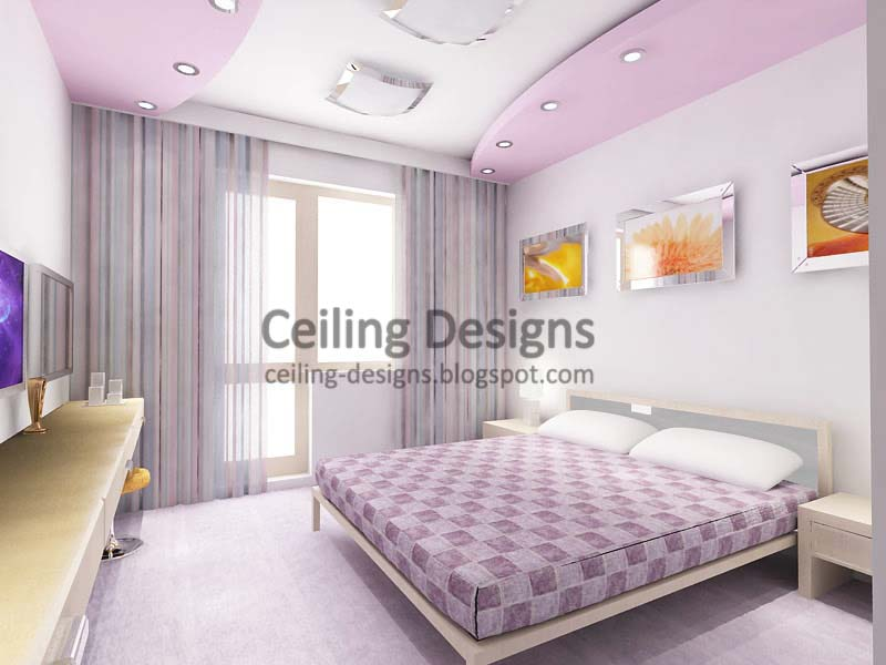 purple false ceiling design from gypsum for women bedroom