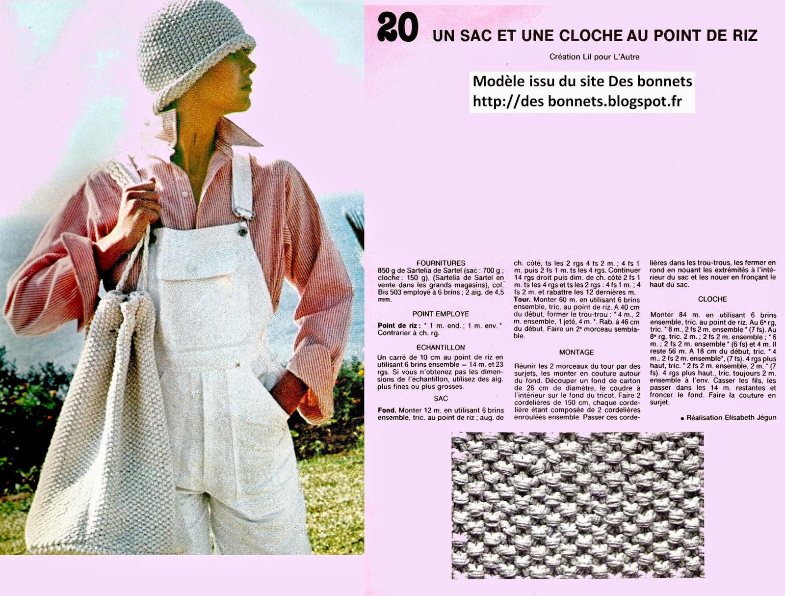 modèle tricot chapeau cloche femme