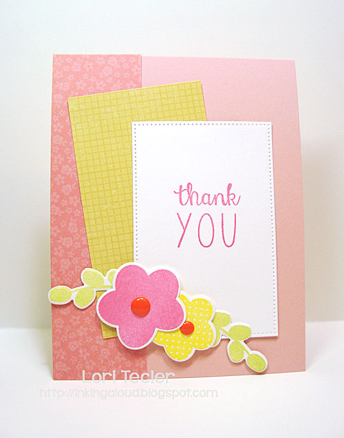 Floral Fusion Thank You card-designed by Lori Tecler/Inking Aloud-stamps and dies from Reverse Confetti