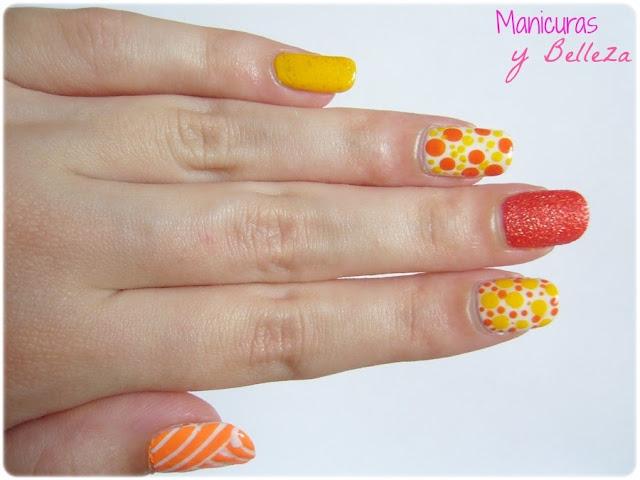 nail art manicura verano mix amarillo naranja puntos dots rayas lines