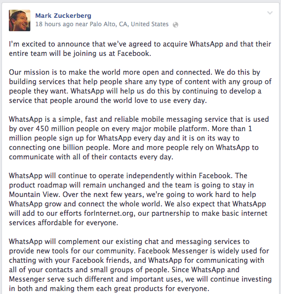 Mark Zuckerberg Spends $19 Billion for WhatsApp Messaging facebook post