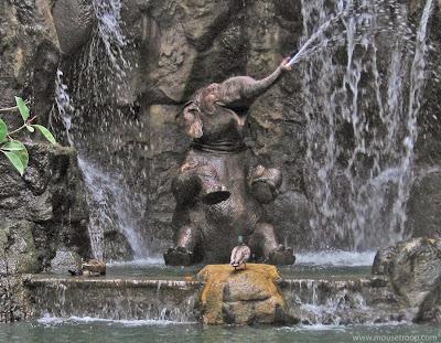 Jungle Cruise Elephant bathing pool ducks duck Disneyland waterfall