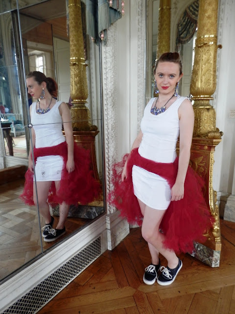 Versailles Chanel Red and White Panniers Hall of Mirrors