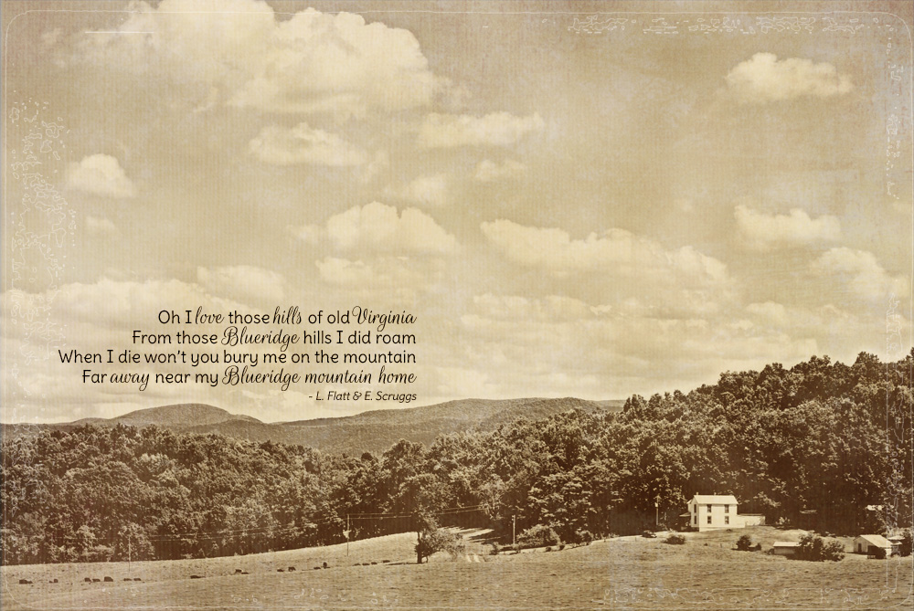 scene with a farmhouse, hills, and the Blue ridge Mountains in the distance.