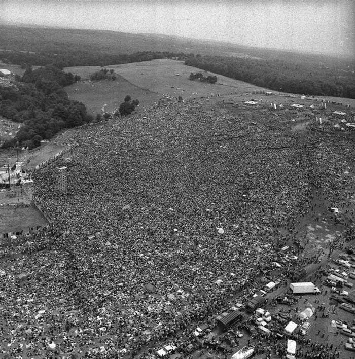 Festival Woodstock imagen aérea
