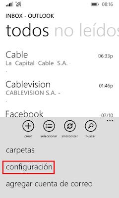 outlook, correo, aplicación, configuración