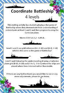 Bayside Math Teacher : Coordinate Battleship Game