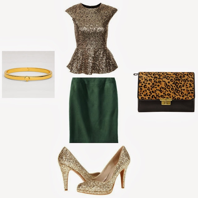 Gold Top Sequined, Gold shoes, Green Skirt, Leopard clutch