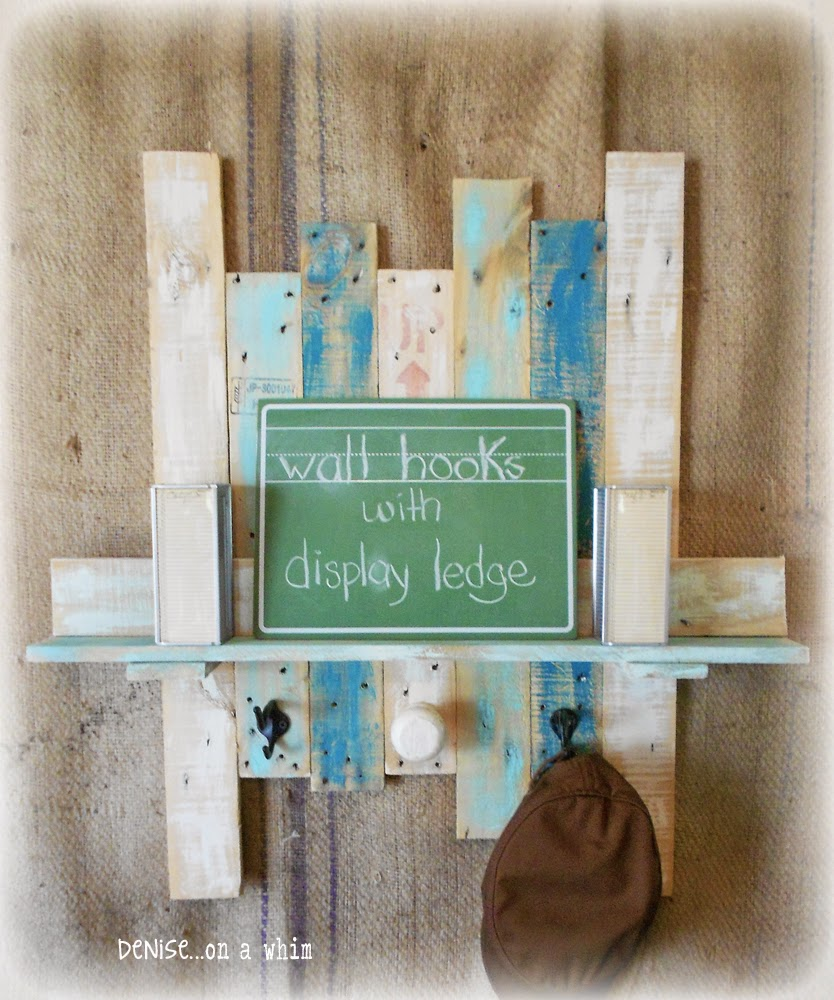 Blue Hook Board with a Clever Display Ledge from Denise on a Whim