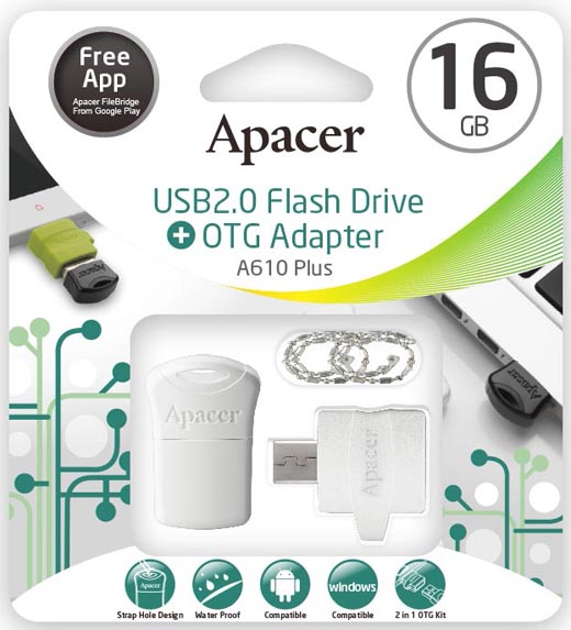 Apacer OTG Adapter A610 and USB 2.0 Super-mini USB Drive AH116