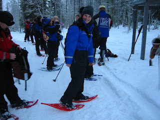 Lola II posing with her snow shoes in Lapland