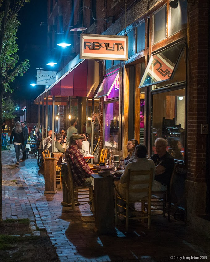September 2015 Middle Street in Portland, Maine USA Sidewalk dining in front of the restaurants named Ribollita, Duckfat, and East Ender. Photo by Corey Templeton.