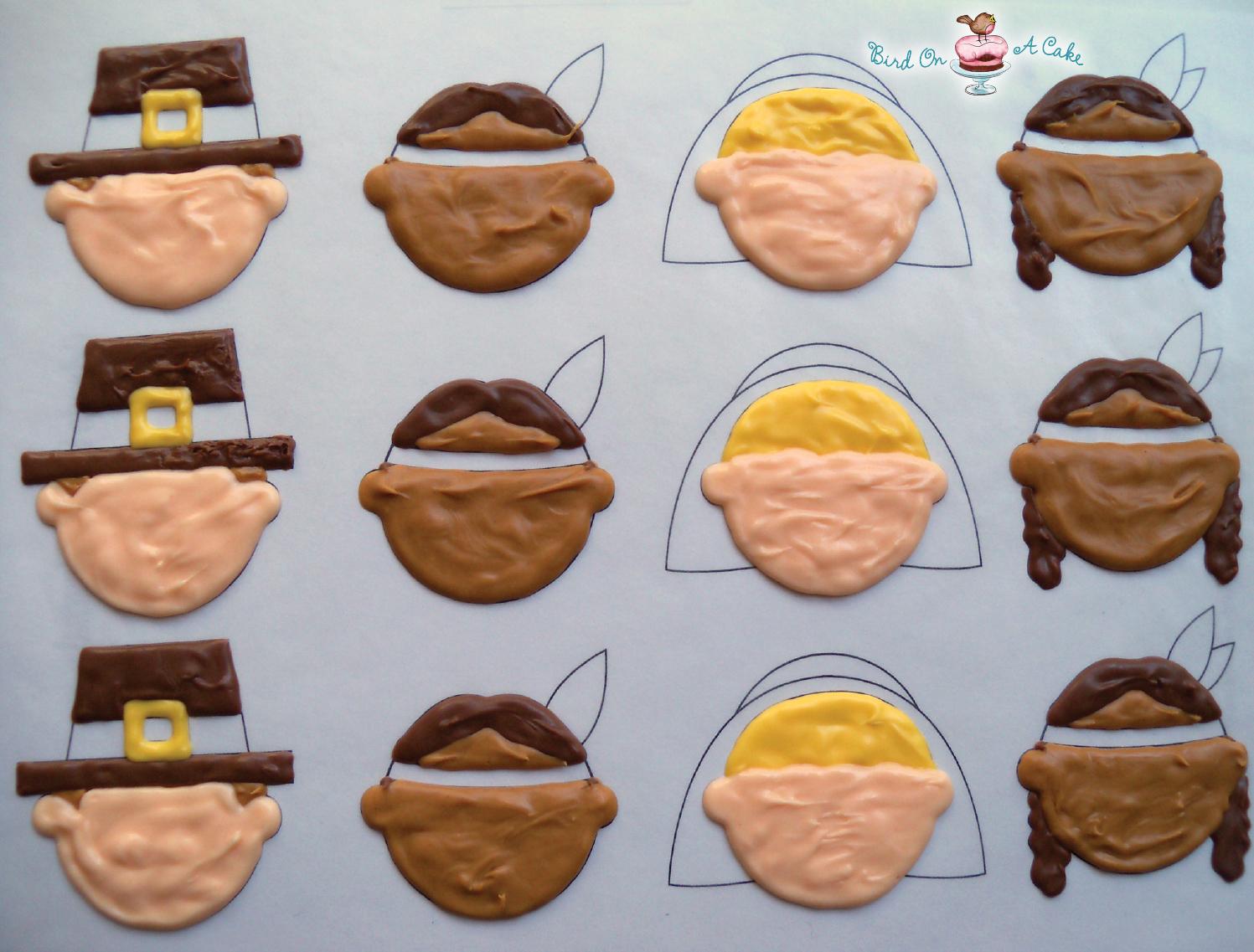 Thanksgiving cupcake decorations - Thanksgiving Pilgrim Indian Cupcake Toppers