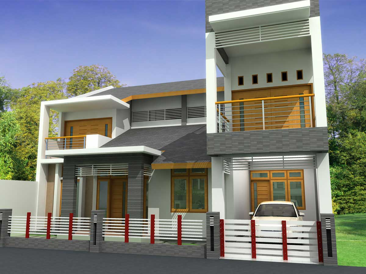 Modern homes front views terrace designs ideas. title=