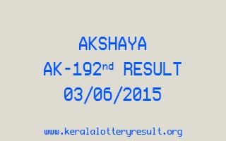 Akshaya AK 192 Lottery Result 3-6-2015