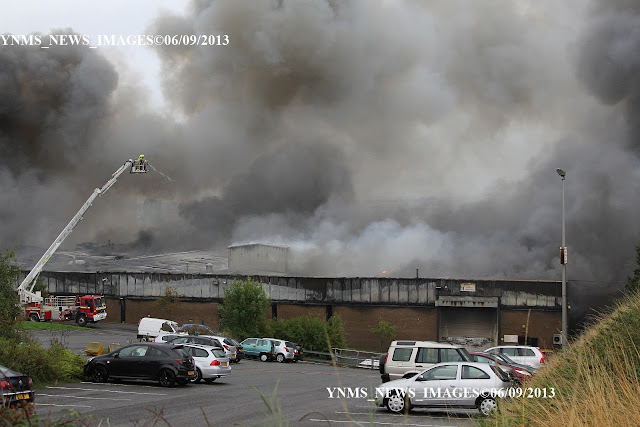 The Inferno as fire takes hold at Airedale International Air Conditioning Ltd Rawdon