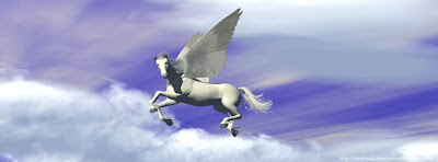 Photo couverture facebook Cheval volant en 3D