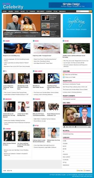 Simplex Celebrity Blogger Template