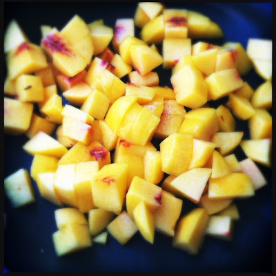 cut peaches for peach pie ice cream