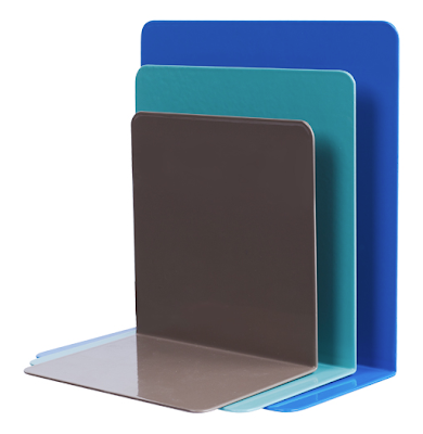 steel bookends in 3 sizes and 3 colors, including blue