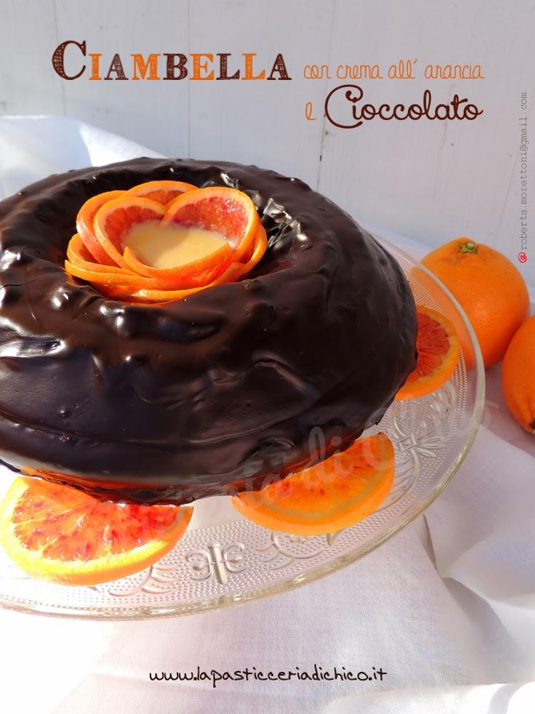 Ciambella con crema all' arancia e cioccolato - lapasticceriadichico