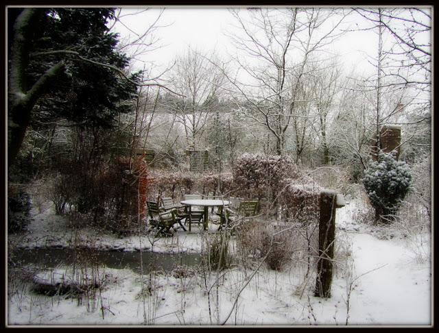 terug sneeuw in de tuin