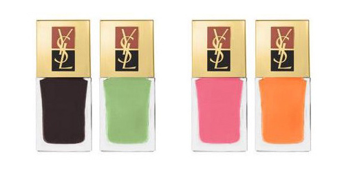 nail polish trends for sprig/summer 2012, yves saint laurent nail polish trends, ysl la laque 7 chocolately brown & mint green and 8 bubble gum pink and tangerine orange nail polish spring/summer 2012, nail polish trends for spring summer 2012 bloggers, i heart maya blog presents the newest spring summer trends in nail polish shades