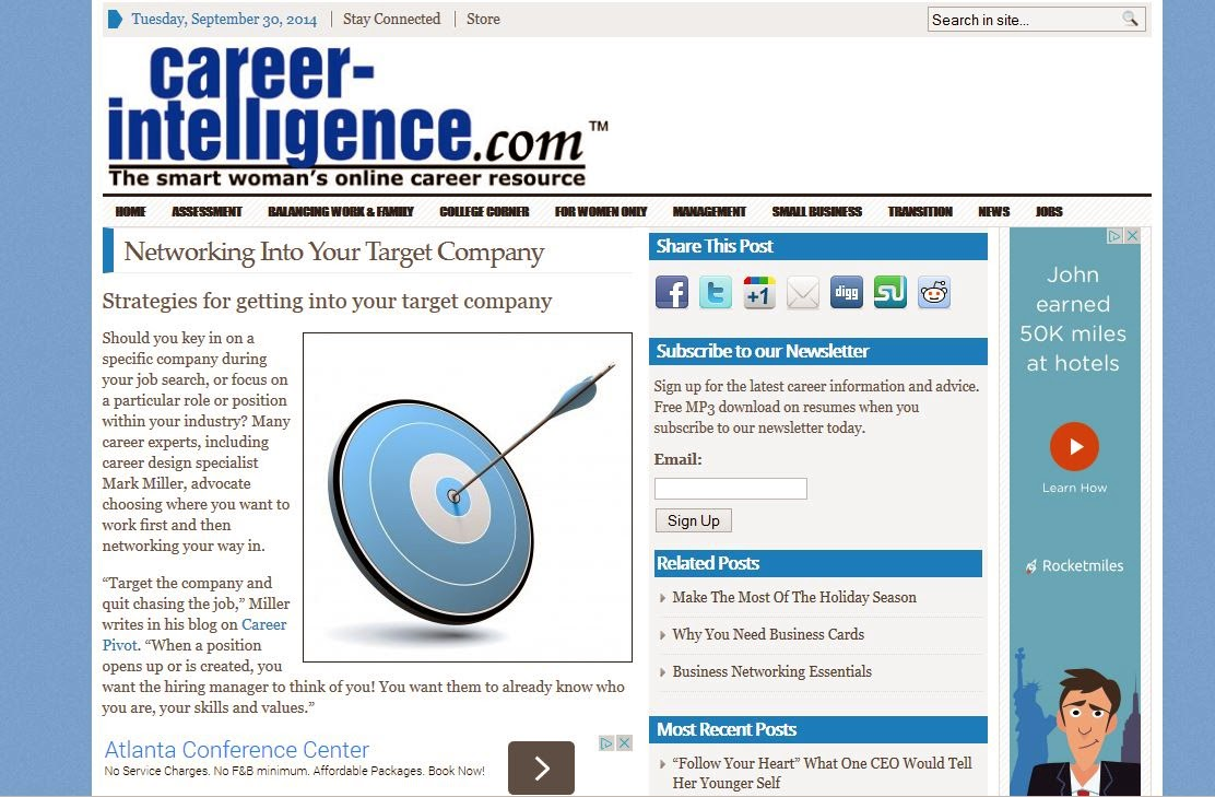 Career Intelligence networking article