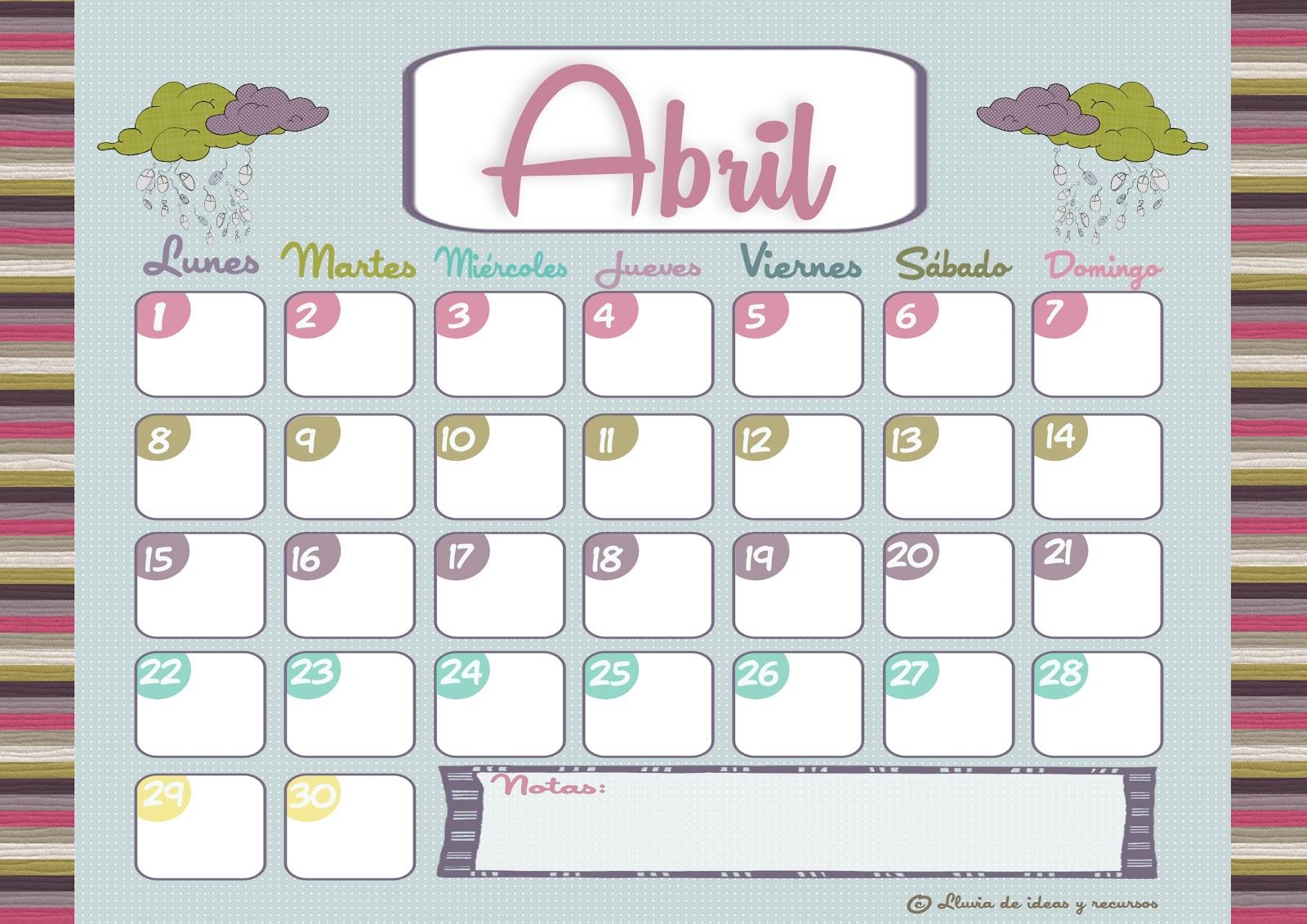 calendarios de abril