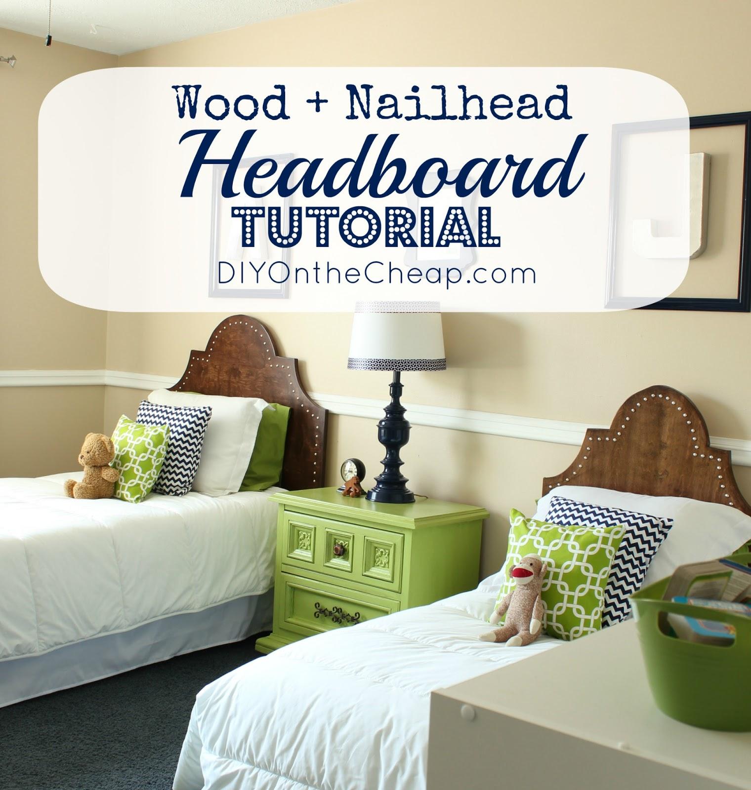 Cheap Wooden Headboards : DIY Wood + Nailhead Headboard Tutorial - DIY on the Cheap by Erin ...