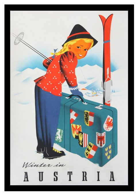 classic posters, free download, graphic design, retro prints, skiing, sports, travel, travel posters, vintage, vintage posters, skiing, sports, Winter in Austria - Vintage Travel Poster