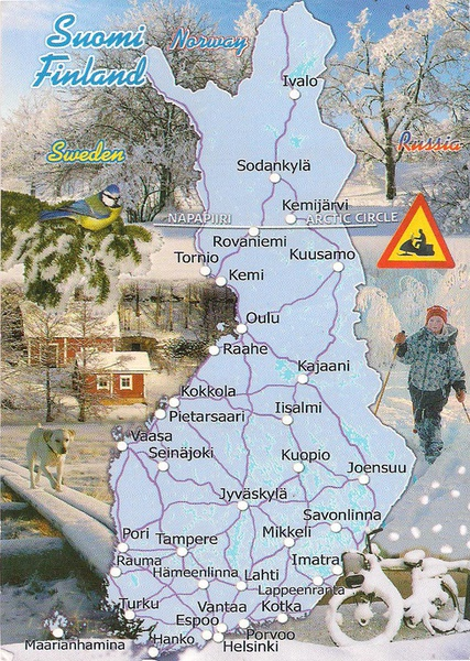 One postcard one world map postcard from finland map postcard from finland gumiabroncs Gallery