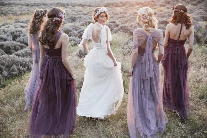 Robe demoiselle d'honneur en nuance de violette longue