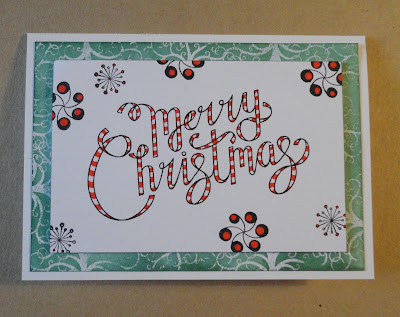 Red striped Merry Christmas card design with green swirl background