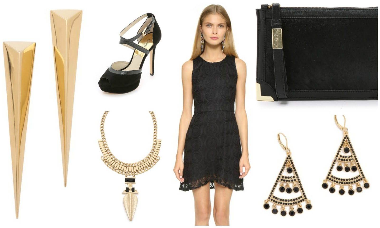 Black lace dress with gold accessories