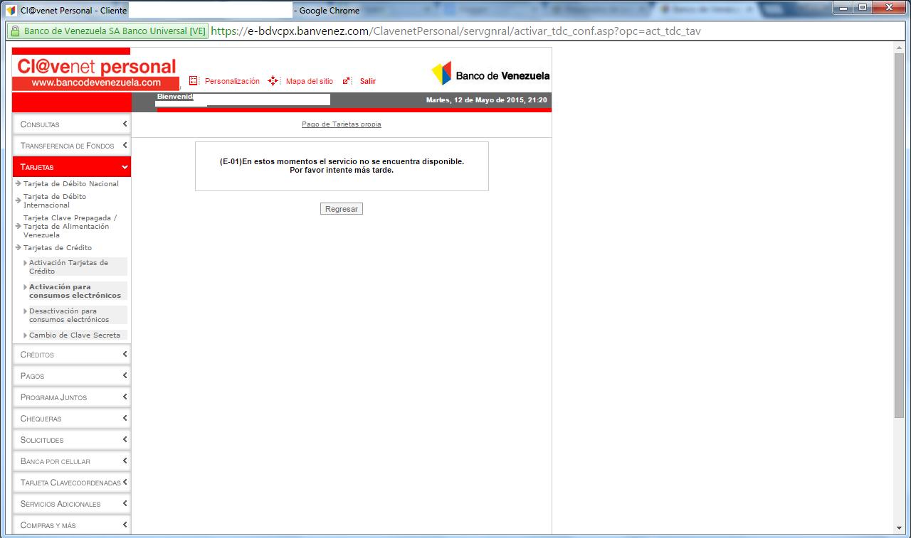 Cupos electr nicos contin an bloqueados tu parada digital for Banco venezuela online