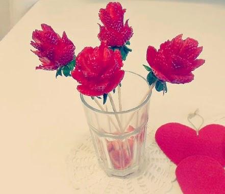 Ramo de Rosas Con Fresas, Postres para el Dia de la Madre