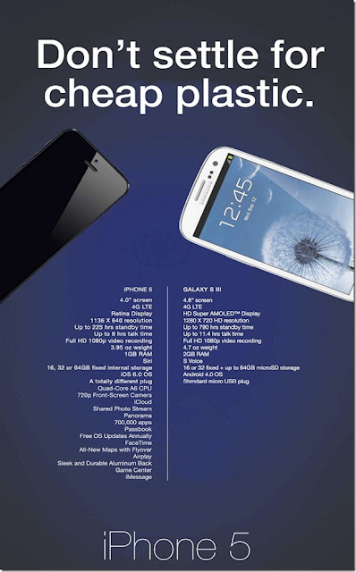 Don't settle for cheap plastic ad iPhone 5 vs galaxy s3