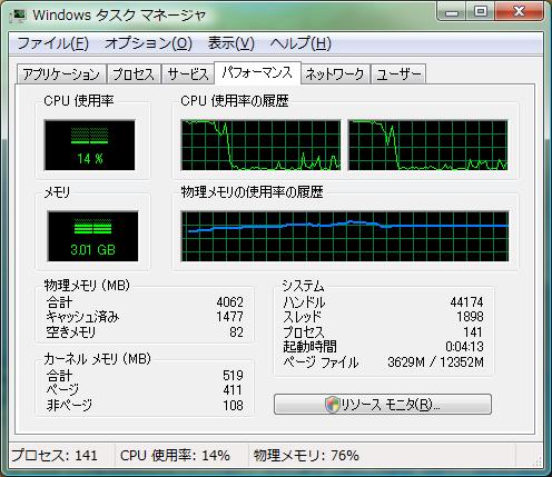再起動してデスクトップが立ち上がった後、 しばらく落ち着くまで放置した状態の Windows ページファイル 3629 M