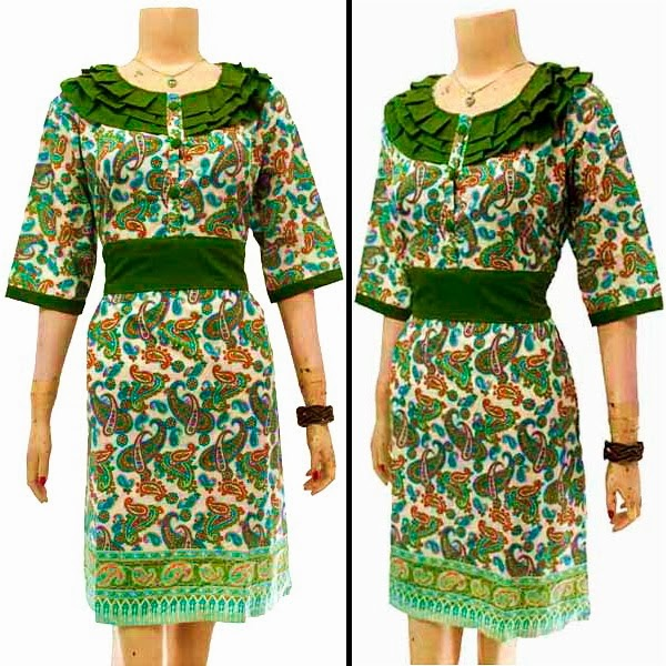 DB3602 Model Baju Dress Batik Modern Terbaru 2014