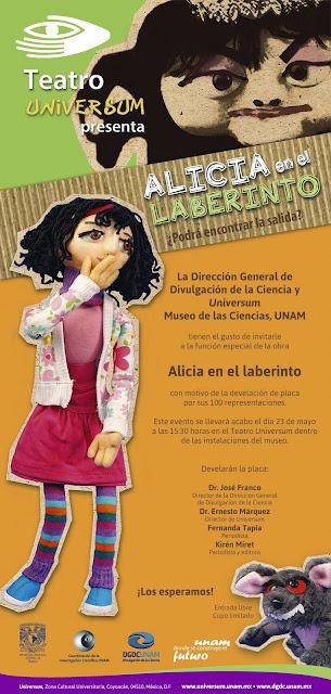 """100 representaciones de """"Alicia en el laberinto"""" en el Museo Universum"""